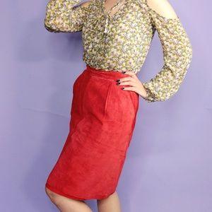 Vintage Skirts - Vintage Suede Rust Pencil Skirt